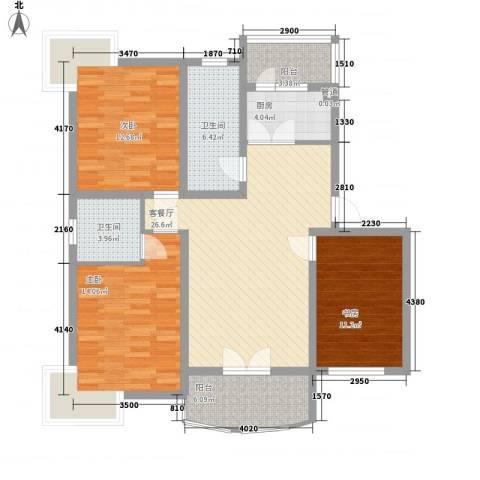 元一时代花园3室1厅2卫1厨128.00㎡户型图