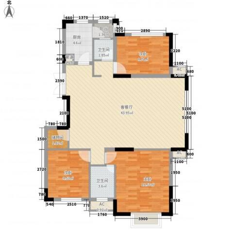 红谷春天3室1厅2卫1厨132.00㎡户型图