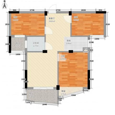 金域兰庭3室1厅1卫0厨89.00㎡户型图
