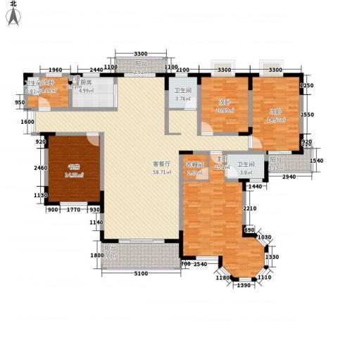 奥克斯博客城5室1厅3卫1厨207.00㎡户型图