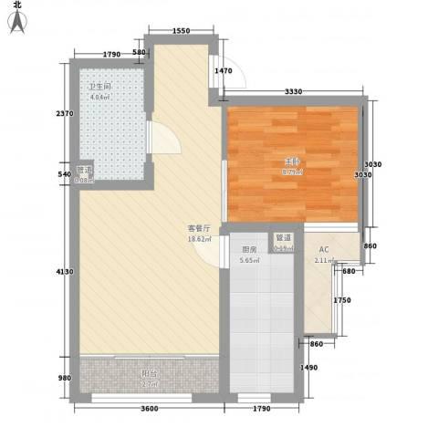 华创观礼中心1室1厅1卫1厨42.18㎡户型图