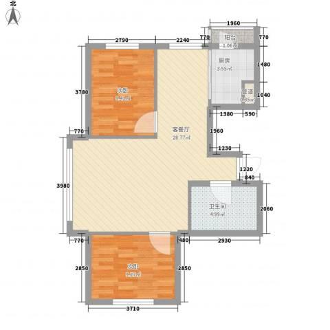 新华壹品2室1厅1卫1厨84.00㎡户型图