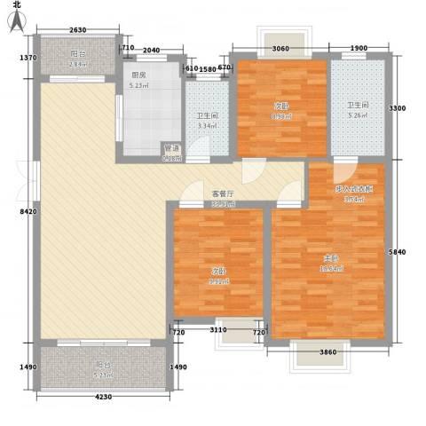 中邦城市花园3室1厅2卫1厨129.00㎡户型图