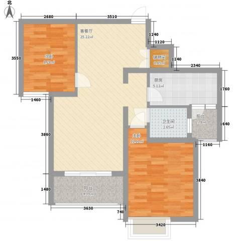 中邦城市花园2室1厅1卫1厨87.00㎡户型图