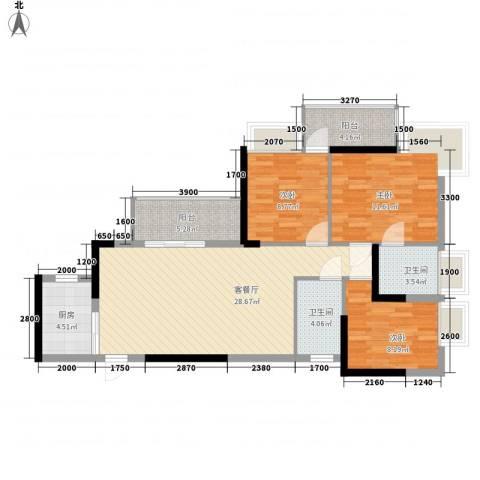 紫金阁3室1厅2卫1厨112.00㎡户型图