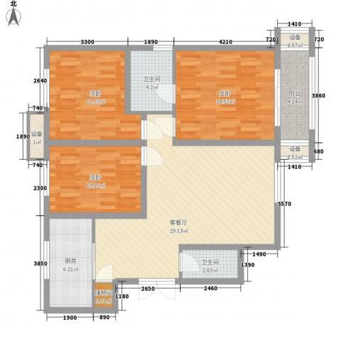 伟邦新西城3室1厅2卫1厨118.00㎡户型图