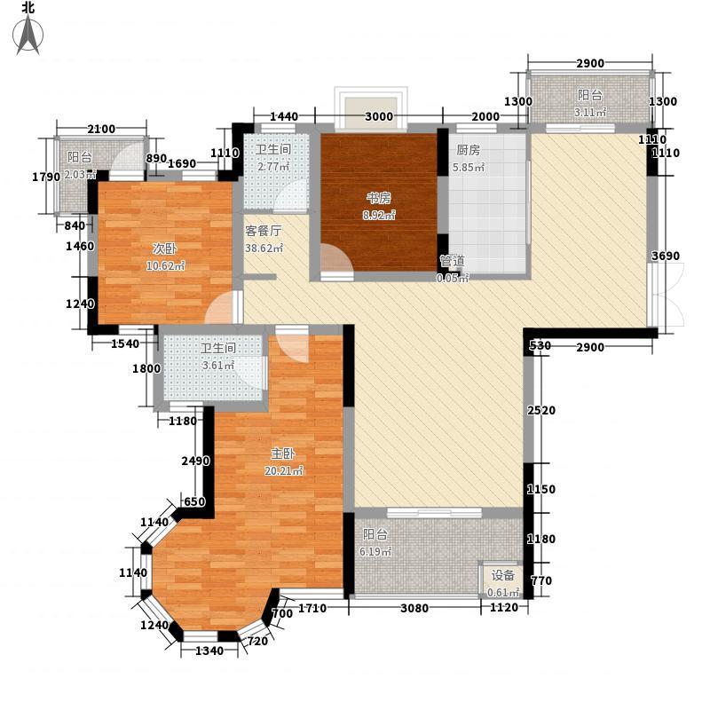 奥克斯博客城135.66㎡E户型3室2厅2卫1厨