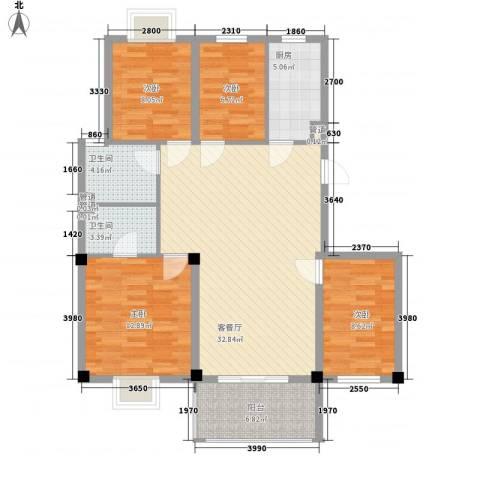 如意金水湾4室1厅2卫1厨125.00㎡户型图