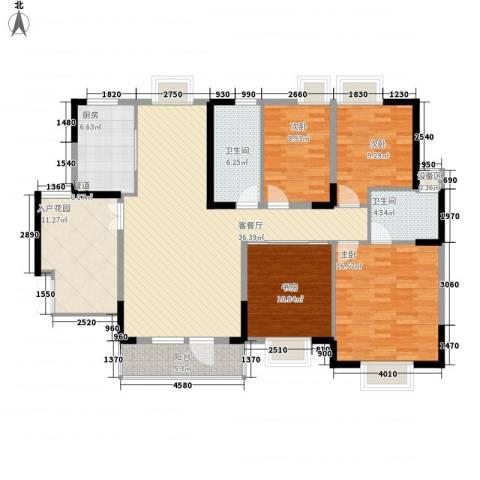 骏马山庄4室1厅2卫1厨135.00㎡户型图