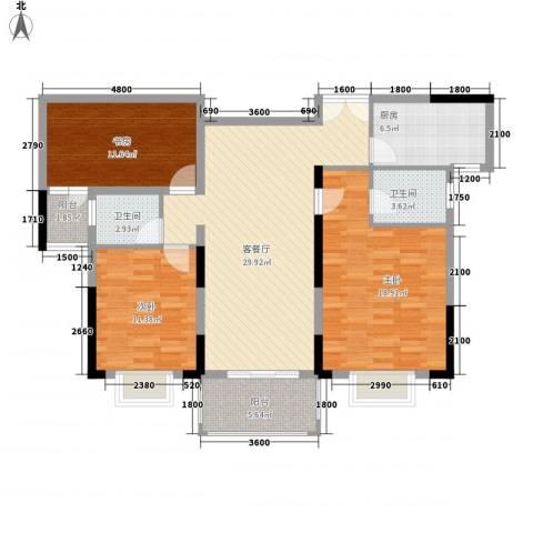 奥克斯博客城3室1厅2卫1厨126.00㎡户型图