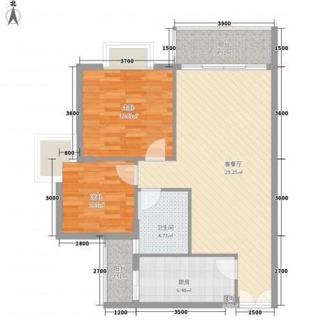 皓月花园二期2室1厅1卫1厨95.00㎡户型图