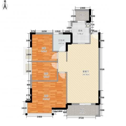 盛世江南3室1厅1卫1厨123.00㎡户型图