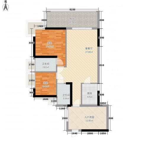 紫金阁2室1厅2卫1厨79.90㎡户型图