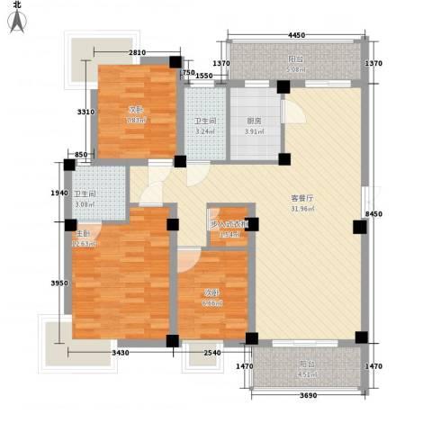 如意金水湾3室1厅2卫1厨116.00㎡户型图