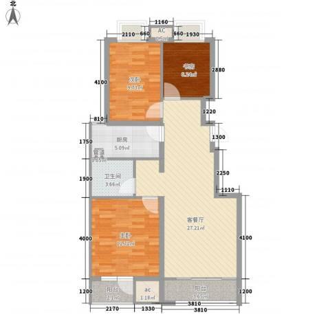 旺园小区3室1厅1卫1厨103.00㎡户型图