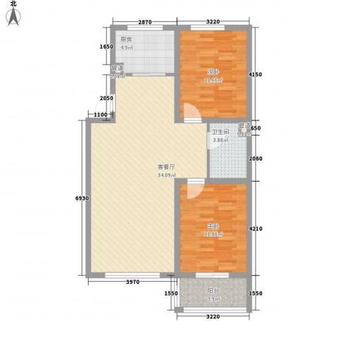 御品星城2室1厅1卫1厨70.48㎡户型图