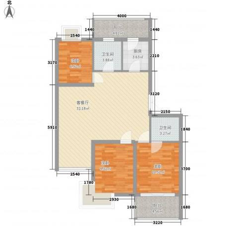 如意金水湾3室1厅2卫1厨113.00㎡户型图
