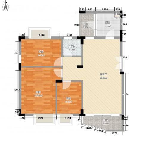 皓月花园二期3室1厅1卫1厨104.00㎡户型图