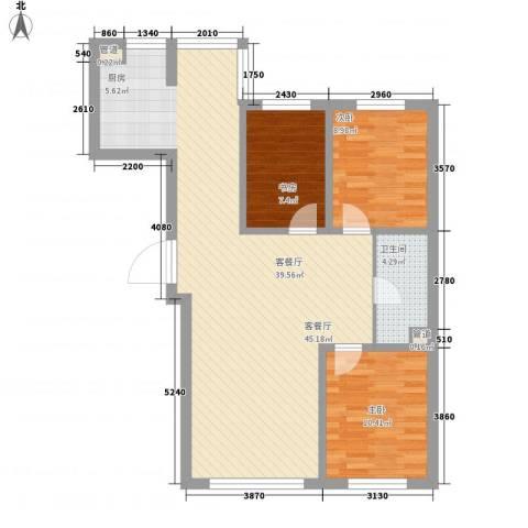 亚泰国际花园3室1厅1卫0厨107.00㎡户型图
