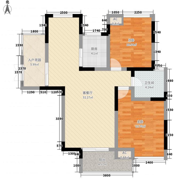 融汇锦江D区高层G1户型2室2厅1卫1厨