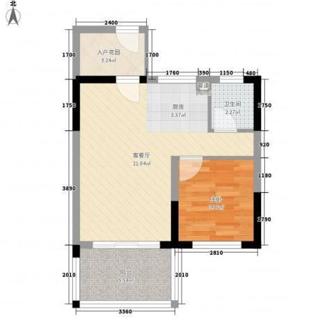 博鳌椰风海岸1室1厅1卫0厨56.00㎡户型图