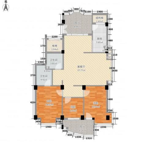 罗马生态园3室1厅2卫1厨116.00㎡户型图