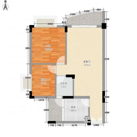 皓月花园二期2室1厅1卫1厨81.00㎡户型图