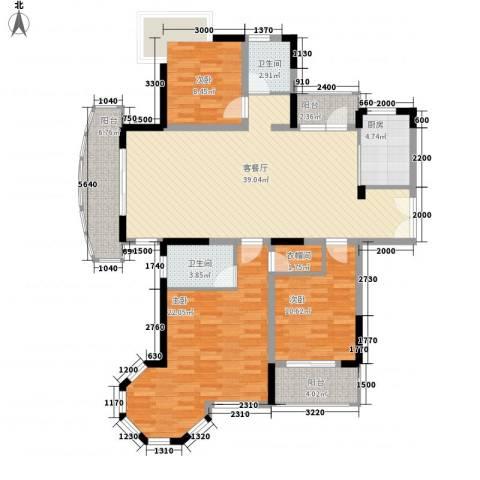 奥克斯博客城3室1厅2卫1厨143.00㎡户型图