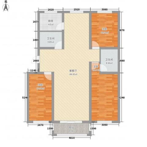 九元兴都3室1厅2卫1厨141.00㎡户型图