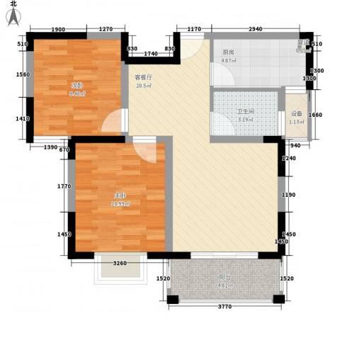 奥克斯博客城2室1厅1卫1厨80.00㎡户型图