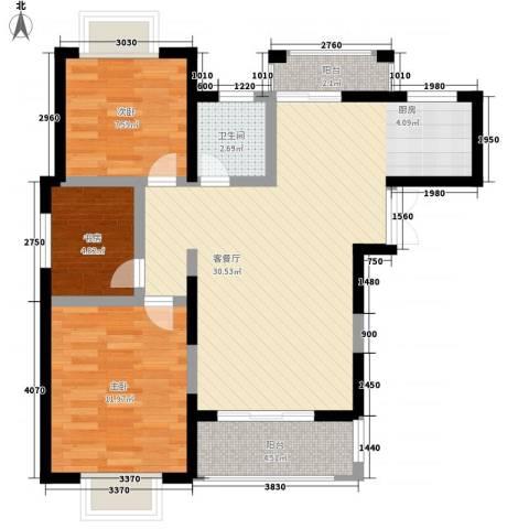 奥克斯博客城3室1厅1卫0厨90.00㎡户型图