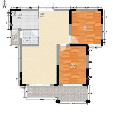 奥克斯博客城2室1厅1卫1厨89.00㎡户型图