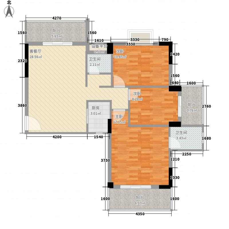 湖滨名城125.82㎡20#楼6、7户型3室2厅2卫1厨