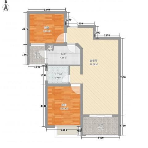 月星公馆2室1厅1卫1厨86.00㎡户型图