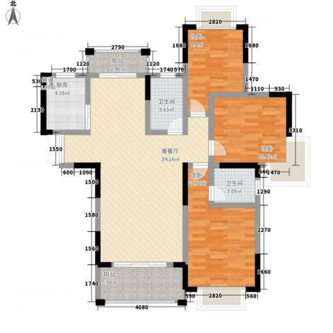 奥克斯博客城3室1厅2卫1厨125.00㎡户型图