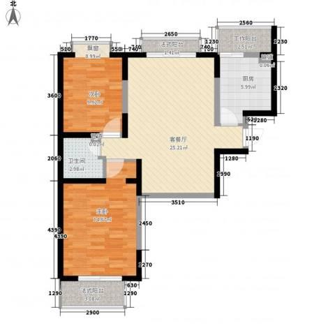 金桥太阳岛2室1厅1卫1厨96.00㎡户型图