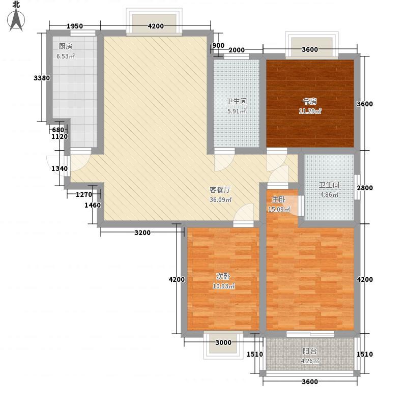万宁城市景苑127.00㎡5#、9#、13#边户B户型3室2厅2卫1厨