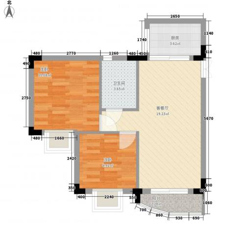 新天地华庭2室1厅1卫1厨65.00㎡户型图
