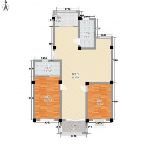 水岸华府2室1厅2卫1厨133.00㎡户型图