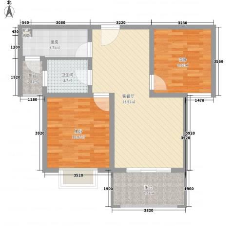 月星公馆2室1厅1卫1厨62.21㎡户型图
