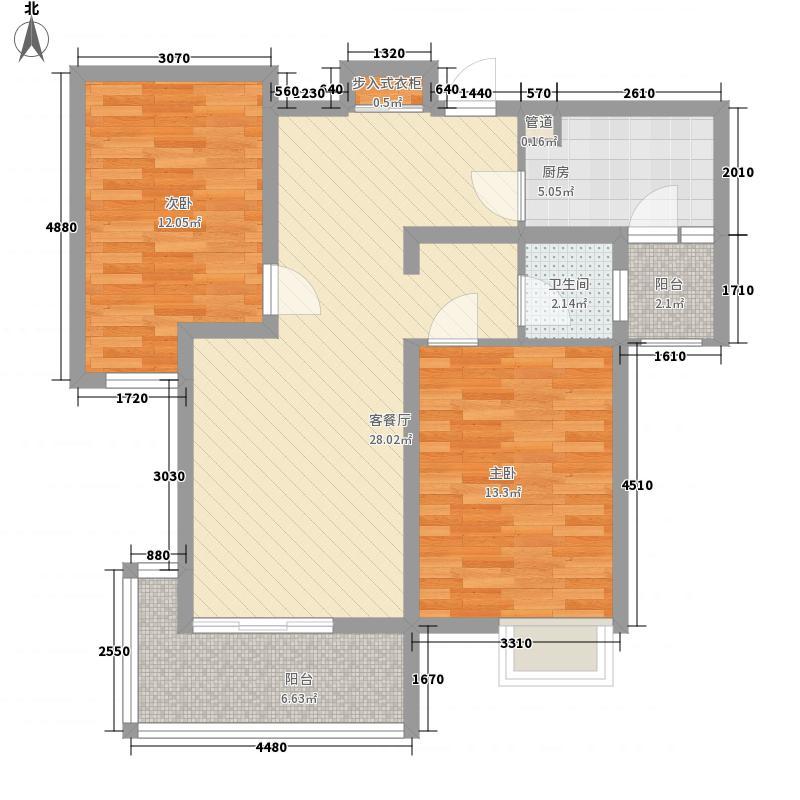 时代奥城5.44㎡29#楼标准层中间户型2室2厅1卫1厨