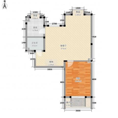 金桥太阳岛1室1厅1卫1厨110.00㎡户型图