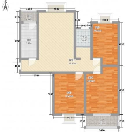 万宁城市景苑3室1厅1卫1厨86.34㎡户型图