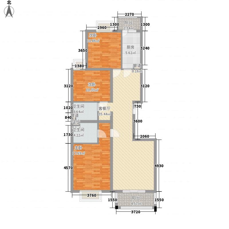 碧桂园温泉124.00㎡小区二期3C户型3室2厅2卫1厨