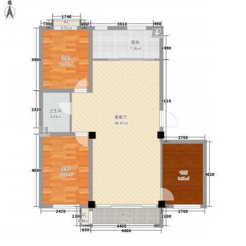 东方俪城3室1厅1卫1厨116.00㎡户型图