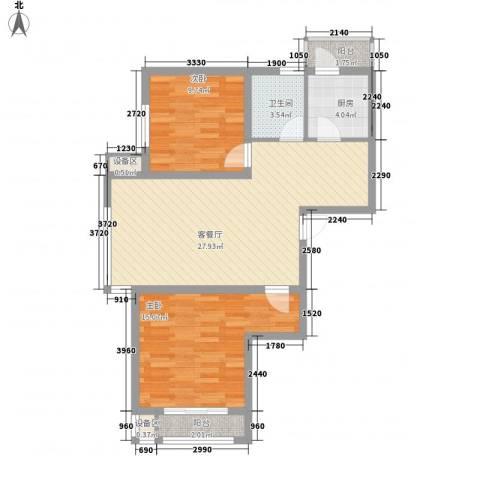 SR国际新城2室1厅1卫1厨110.00㎡户型图