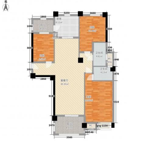 安阳碧桂园3室1厅2卫1厨122.00㎡户型图