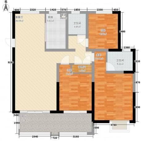悦达悦珑湾3室1厅2卫1厨142.00㎡户型图