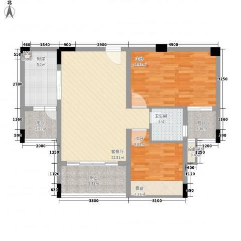 大翼龙苑2室1厅1卫1厨80.00㎡户型图