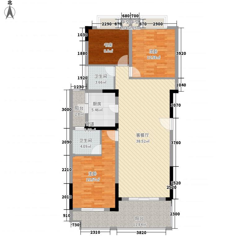 枫景雅居户型图F2 3室2厅2卫1厨
